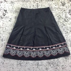 LOFT A-Line Embroidered Skirt